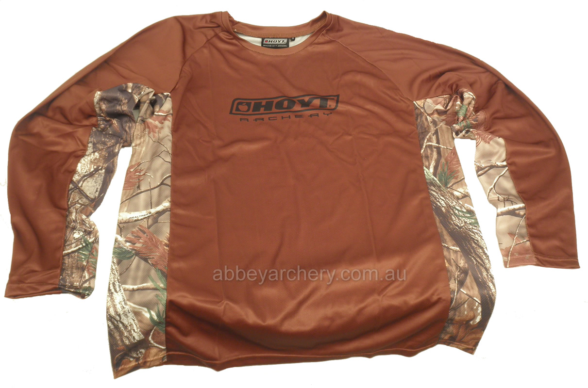 Hoyt camo trim performance long sleeve t shirt brown for What is a performance t shirt