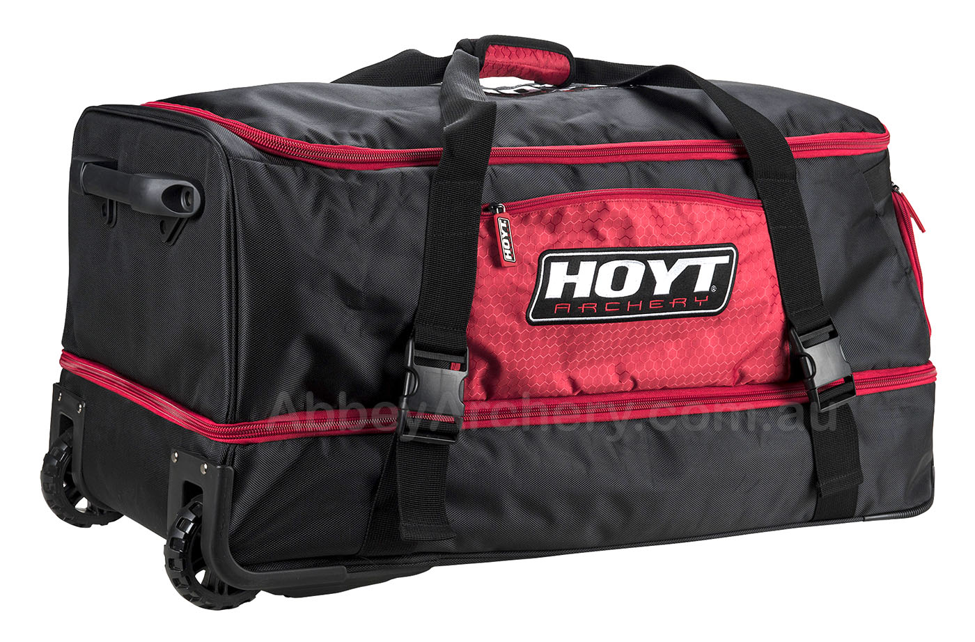 Dual Compartment Team Hoyt Rolling Duffel Bag Black Amp Red