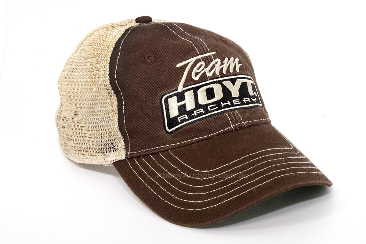 Team Hoyt stone washed brown and tan mesh cap large.jpg a5d3b88cbe8